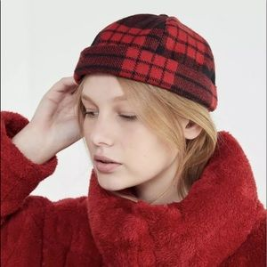 Urban Outfitters Plaid Cuffed Hat Wooly Elastic